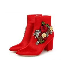 New Womens Pointy Toe Ankle Booties Boot Med High Heel 3D Embroidered Flower Zip
