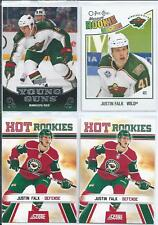 Justin Falk  10/11  4- RC Rookie Card Lot  w/ Upper Deck Young Guns SP RC