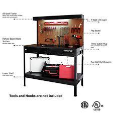 WorkPro Multi Purpose Heavy Duty Workbench With Work Light Garage Tool Storage