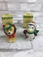 Penguin And Dog Ornament Holiday Friend Bisque Porcelain Bell Vintage Christmas