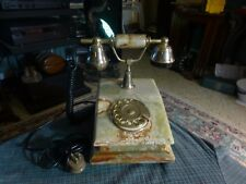 Vintage ONIX TELMAR 18K Gold Plated Onyx Rotary Antique Style Telephone Italy VG