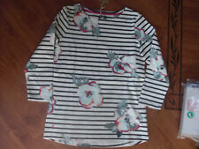 BNWT LADIES JOULES HARBOUR PRINT CREAM POSY STRIPE TOP SIZE UK 10.RRP £29.95
