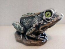 Stone Toad Figure w/Green Glass Eyes by Studio Inc. Wauconda Il