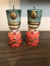 """Vintage Pair of Faded Christmas Toy Soldier Candles ~ Each is 5 1/8"""" Tall"""