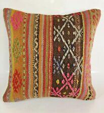 Handmade Decorative Embroidered Oushak Vintage Kilim Pillow Cushion Cover 16x16