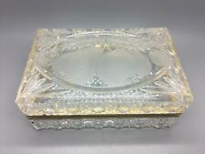 EXQUISITE ANTIQUE RARE FRENCH BACCARAT STYLE CRYSTAL / BRASS JEWELRY TRINKET BOX