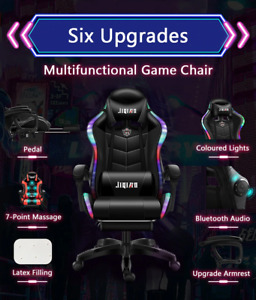 2021 Modern RGB Gaming Chair With Bluetooth Speaker & Footrest Free Shipping