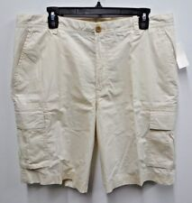 6ea5c96d06 IZOD Mens Size 34 Stone Beige Seaport Thin Poplin Flat Front Cargo Shorts
