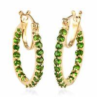925 Sterling Silver Vermeil Yellow Gold Over Chrome Diopside Hoop Hoops Earrings
