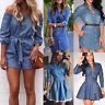 Womens Denim Jeans Shirt Mini Dress Long Sleeve Casual Tunic Dresses Blouse Tops