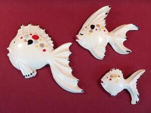 VINTAGE RETRO MID CENTURY CHALKWARE ANGEL FISH FAMILY SET OF 3 NICE!