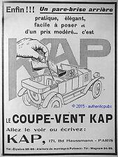 PUBLICITE COUPE VENT KAP AUTOMOBILE TORPEDO SALON DE BRUXELLES DE 1925 FRENCH AD