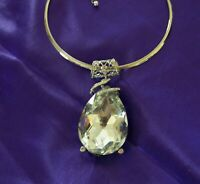 """Designer Unsigned Huge Crystal Clear GLASS 3""""3/4 Inch Drop Silver Wire Necklace"""