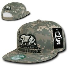 Digital Camouflage ACU Camo California Republic Cali Bear Flat Snapback Cap Hat