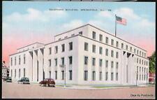 SPRINGFIELD IL Telephone Building Vtg Linen Postcard