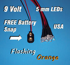 10 x LED - 5mm PRE WIRED 9 VOLT ORANGE FLASHING 9V BLINK PREWIRED