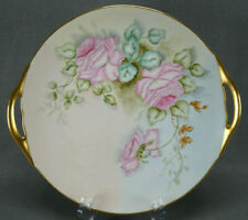 Thomas Bavaria Hand Painted Signed NC Fischer Pink Roses Gold Cake Plate 1908-39