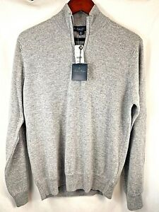 Brooks Brothers Two-Ply 100% Cashmere Half Zip Sweater Men's Medium Gray NWT