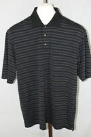 Pebble Beach Mens Blue Short Sleeve Striped Polo Shirt Size Large