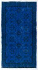 4x7.1 Ft Blue color OVERDYED, Distressed Vintage Turkish Rug y574