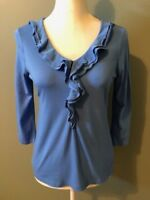 Talbots Womens Shirt Top Size S Blue Front Ruffle V Neck 3/4 Sleeve Casual