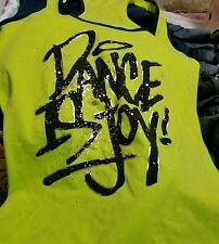 ZUMBA Instructor RacerBack Top Tank Metallics-Dance is-Convention-- L Neon green