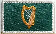 IRISH Flag Embroidered Iron-On Patch Biker Military Ireland Emblem White Border