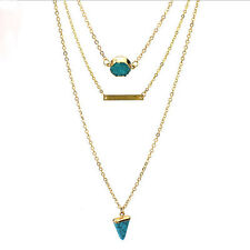 Fashion retro multi-layer Bohemian gold plated long chain turquoise necklace