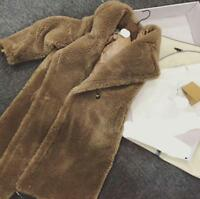 UK STOCK Luxury Women Teddy Bear Feel Oversized 100% Wool  Long Coat UK 8-10
