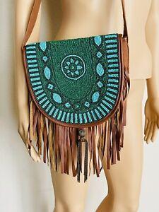 Earthbound Trading Co Purse Boho Hippie Beaded Fringed Shoulder Bag Boho