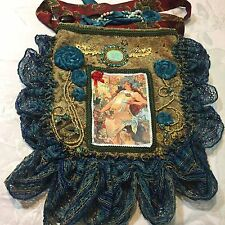 handmade gypsy purse bag tapestry Mucha art nouveau Seasons autumn beaded trim