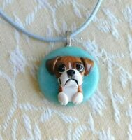Boxer Necklace Sculpted Clay by Raquel from theWRC