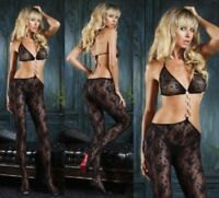 Black Floral Lace Net Cut Out  Bodystocking Leg Avenue Body Tights 89042