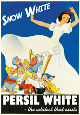 Vintage Persil Poster Snow White Dwarves Soap Washing Powder Advert Print A3 A4