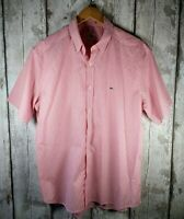 Men's Lacoste Pink & White Striped Short Sleeved Shirt EU 43 / UK XL