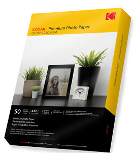 KODAK Premium Quality Glossy Photo Paper [Inkjet Printers] 50 Sheets A6 240gsm