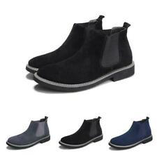 Mens Suede Leather Round Toe Slip On Casual Ankle Boot Office Outdoor Shoes Sz
