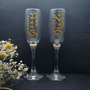 Personalized Champagne Flutes Wedding Glasses Gold Toasting Glasses Couples Gift