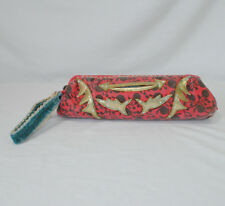 Loop NYC Red Fabric Wristlet Gold Design Blue Velvet Strap Missing Zipper Pull