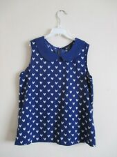 Girls New Look Top. Age 12 Years. Blue & White Heart Print Sleeveless Top