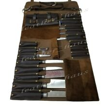Lightweight Premium Genuine Leather 16 Pockets Professional Chef Knife Bag/Roll
