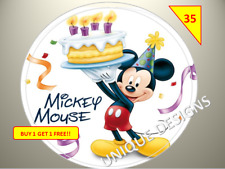 70 Mickey Mouse Party Labels Stickers Birthday Gift sweet Cone Non Personalised
