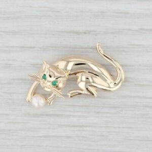 Cat Playing with Yarn Ball Brooch 14k Gold Cultured Pearl Emeralds Vintage Pin