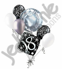 7 pc 18th Elegant Happy Birthday Sparkles Balloon Bouquet Black Damask Silver