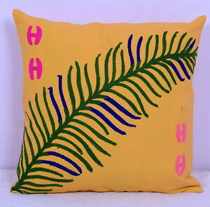 """17"""" Indian Cotton Yellow Cushion Cover Ethnic Embroidery Home Sofa Decor Pillow"""