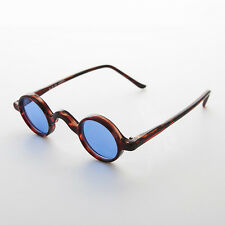 Round Retro Victorian w/ Blue Colored Lens Vintage Sunglasses (Brown) -SHIVA