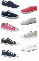 LADIES WOMENS GIRLS FLAT LACE UP PLIMSOLLS PUMPS CANVAS TRAINERS SHOES SIZE 3-8