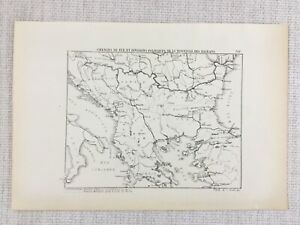 1881 Antique Military Map of The Balkans Political Division Serbia Albania