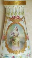 Lrg. Antique Royal Bonn Lamp Vase Hand Painted German Portrait Signed Mehlem