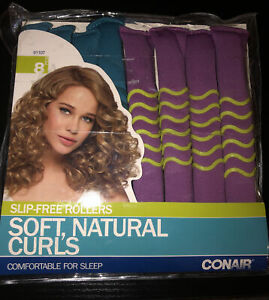Conair Slip-Free Rollers Soft Natural Curls 8 Pcs Bendable Rollers  New